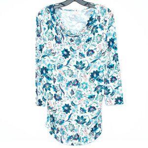 Talbots Top Shirt Drape Neck Floral Ruched Lrg BU